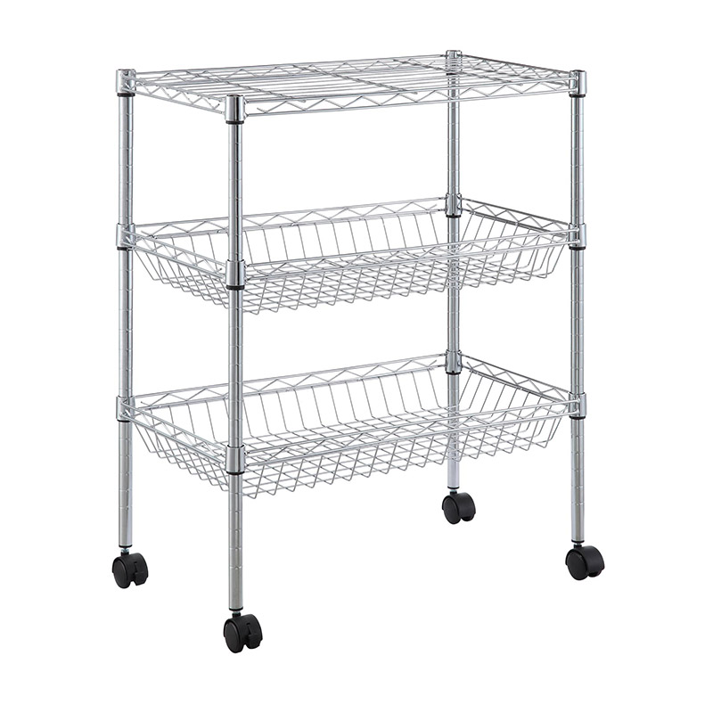 CamelTough Utility Wire Cart 3 Tier With Wheels 60 x 35 x 71 cm Chrome – HTC-WR608