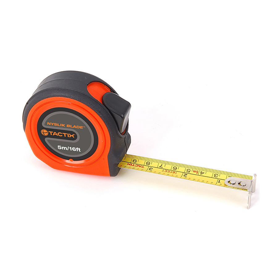 Tactix Tape Measure 5 m - 16 feet x 19 mm Nyslik TTX-235383